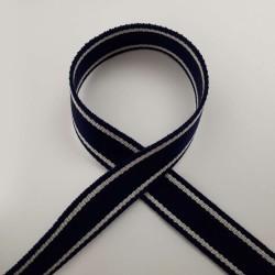 Sangle bleu marine bandes blancs cassé 25mm de large au mètre pour anses
