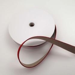 Sangle réversible rouge et beige 25mm de large vendue au mètre pour anses de sacs