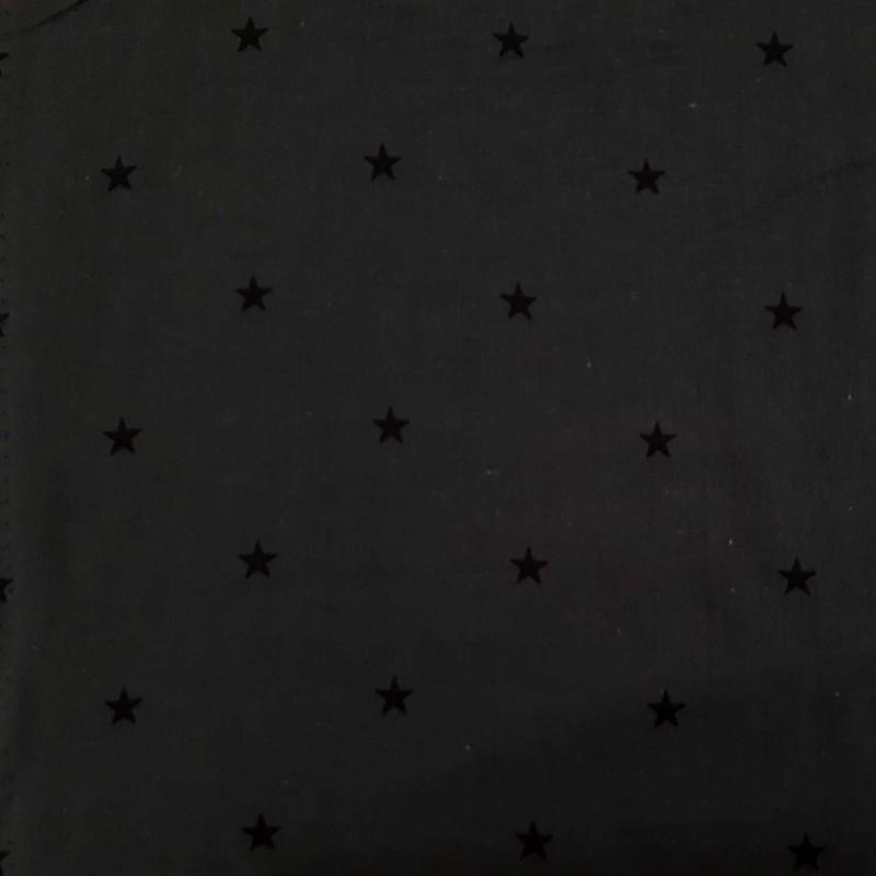 Dark grey double gauze with stars