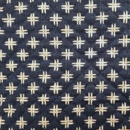 Tissu coton matelassé indigo faux uni motifs dièses
