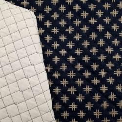 Tissu matelassé japonais indigo faux uni motifs dièses