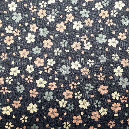 Tissu japonais bleu nuit samehada et sakura