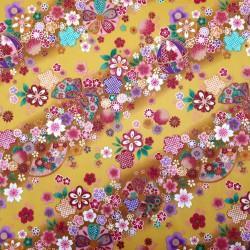 Tissu japonais jaune fleurs de cerisier