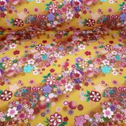 Tissu jaune fleurs de cerisier