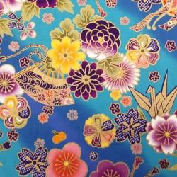 Tissu turquoise et bleu fleurs avec doré