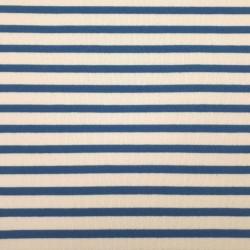 Tissu sweat épais marinière blanc cassé et bleu (largeur 94cm)