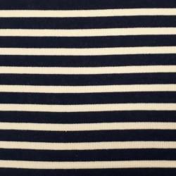 Tissu sweat épais marinière indigo et blanc cassé (largeur 94cm)