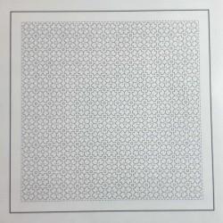 Coupon tissu sashiko blanc pré-imprimé fleur de cerisier et carrés