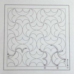 Coupon tissu sashiko indigo pré-imprimé demi-ronds