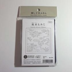 Coupon tissu sashiko indigo pré-imprimé momiji