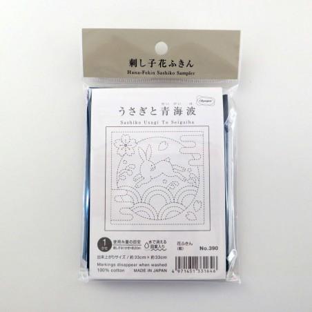 Coupon tissu sashiko bleu nuit indigo pré-imprimé lapin et vagues