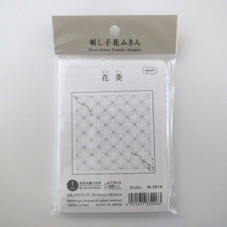 Coupon tissu sashiko blanc pré-imprimé hanabishi pavot de californie