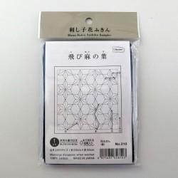 Coupon tissu sashiko bleu nuit indigo pré-imprimé tobiasanoha