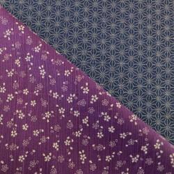 Tissu japonais réversible pour furoshiki fleurs de cerisier violet asanoha bleu foncé