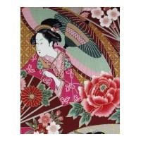 Japanse fabrics with geisha, ladies in kimono, samurai