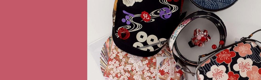 Objets japonais: chaussettes, ceintures, sacs, étuis à lunettes, bijoux, furoshiki